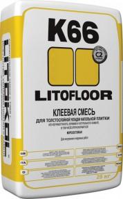 Клей для плитки и керамогранита Литофлур К66 (Litofloor K66) по неровным основаниям, 25кг