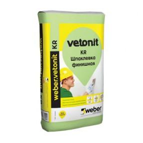 Шпаклевка финишная на органическом связующем Вебер.Ветонит КР (weber.vetonit KR) для сухих помещений, 25кг