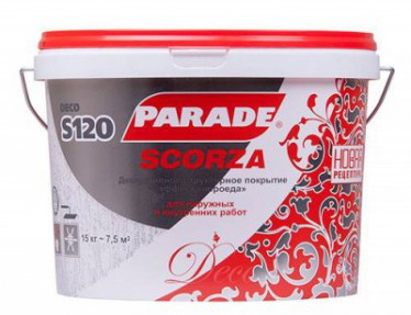 Декоративное покрытие S120 DECO Scorza Белый 15кг Парад с эф. короеда