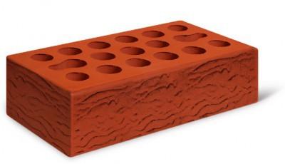 Кирпич лицевой керамический одинарный пустотелый риф, цвет красный (Kerma)
